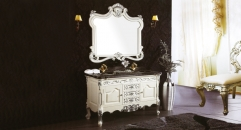 white and hand paint silver oak, black-white veins marble cabinet and mirror