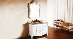 white oak, grey wood grain marble cabinet and mirror