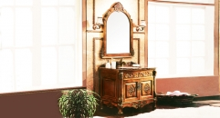 orange coffee oak, dark brown marble cabinet and mirror