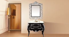 black and leaf paint silver oak, color jade marble cabinet and mirror