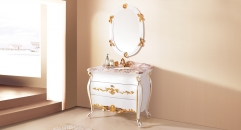 white and leaf paint gold oak, golden brown marble cabinet and mirror