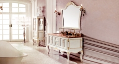 ivory and leaf paint gold oak, rainforest brown thicken marble cabinet and mirror