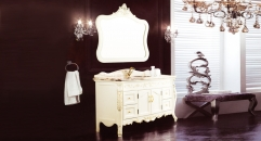 ivory and description golden oak, golden brown marble cabinet and mirror