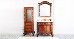 tea brown oak, rainbow rose marble cabinet and mirror