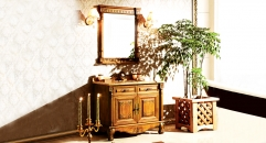 yellow brown oak, emperador light marble cabinet and mirror