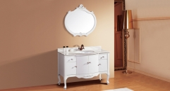 white oak, volakas white marble cabinet and mirror