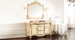 light yellow ash board, wood grain yellow thicken marble cabinet and mirror