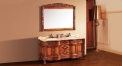 peach heart color with glaze oak, golden brown thicken marble cabinet and mirror