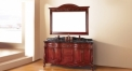 red brown oak, portoro thicken marble cabinet and mirror