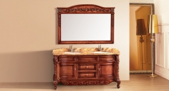 light brown oak, rainforest brown thicken marble cabinet and mirror