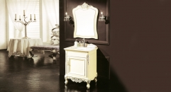 ivory and hand paint silver oak, golden line beige marble cabinet and mirror