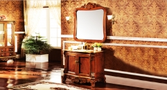 orange coffee oak, dark coffee marble cabinet and mirror