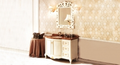 ivory and hand paint golden oak, rainforest brown marble cabinet and mirror