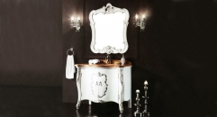 white and hand paint silver oak, wood grain yellow marble cabinet and mirror