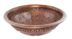 Round Copper Vanity Sink, Oak Leaf Decorated