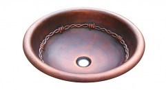 Round Copper Vanity Sink, Wire decorated