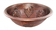 Round Hammered Copper Vanity Sink, Grape Decorated
