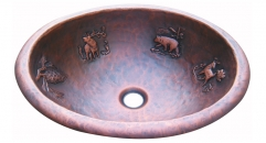 Oval Vanity Sink, animal decorated