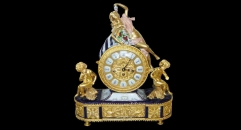 Beauty lady and children with 24K gold plated table clock (import)