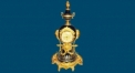 double beauty trophy with 24K gold plated table clock (import)