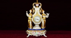 double beauty with 24K gold plated table clock ( import)