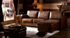 Full top grain leather sofa set, loveseat with chaise lounge