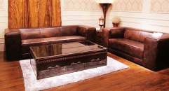 Full top grain leather sofa set, half leather