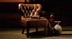 Full top grain leather armless chair