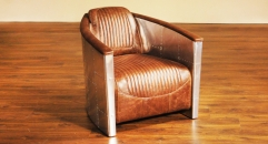 Full top grain leather& Aluminium armchair