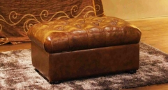 Full top grain leather footstool, ottoman