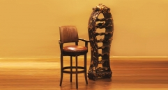 Full top grain leather armed barstool