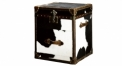 cowhide fur trunk, end table, night table