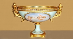 double ear oval bowl, angel playing theme