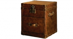Full top grain leather trunk, end table, night table