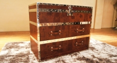 Top grain leather trunk, end table, night table