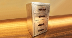 Aluminium trunk, chest of drawers, 4 drawers