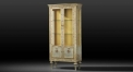 European style silver hand painted floral display cabinet