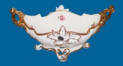floral fruit bowl with handles (dolomite)