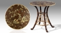 European style round hand painted table, end table, peacock and bird theme