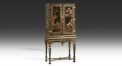 European style antique hand painted golden cabinet