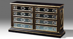 black chest, cabinet, 8 drawers