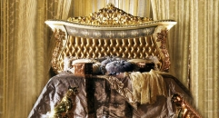 Royal bed with holstered headboard, 3 color