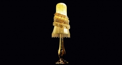 golden floor lamp with lampshade, ceramic with SWAROVSKI style crystal