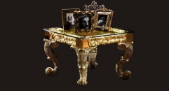 golden embossed end table