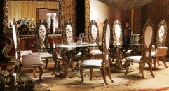 European style wood carved dining room set