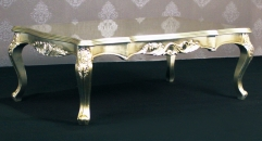 Champagne Silver Wood Carved Coffee Table