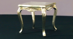 Champagne Silver Wood Carved End Table