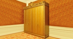 Imperial wood carved 4 door wardrobe