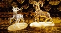 Luxury golden 24K home decor metal craft sheep decoration , European-style home accessories vintage ornaments