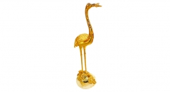 Royal golden 24K home decor metal craft crane decoration , European-style home accessories vintage ornaments